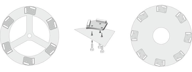 Несущая платформа с шлифовальным алмазным инструментом компании «Адель» в сборе